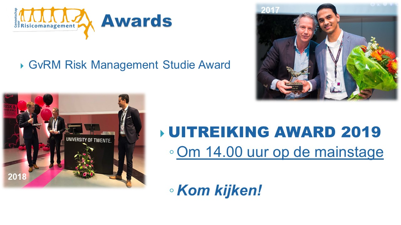 Uitreiking GvRM Risk Management Studie Award 2019 op het Risk & Reslience Festival
